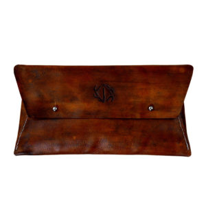 distressed leather clutch