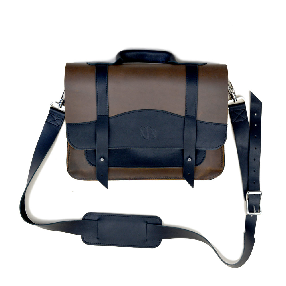 black and brown leather computer bag