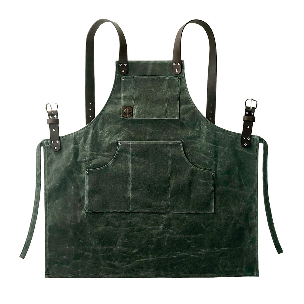 waxed canvas apron with leather straps