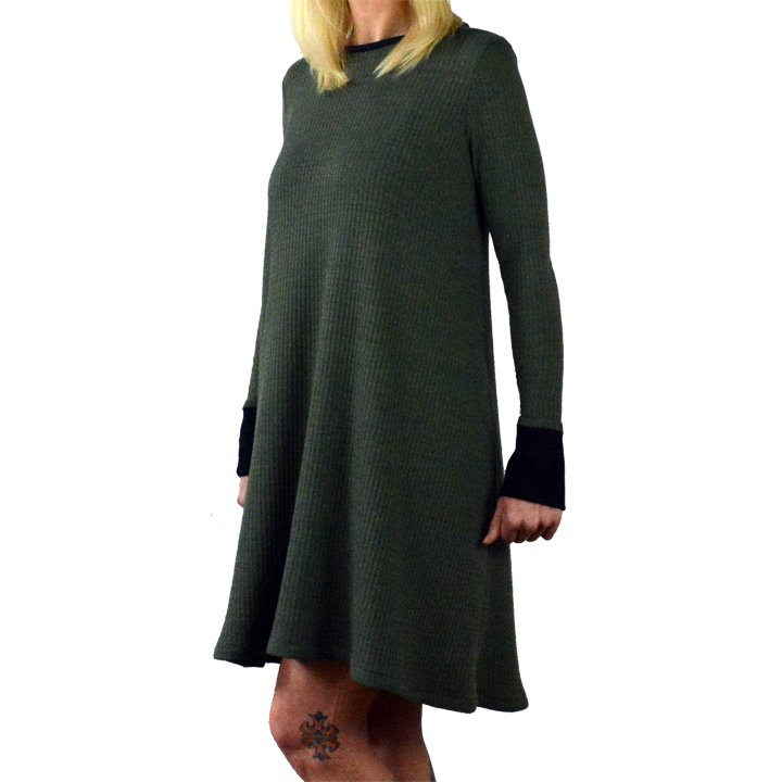 Olive waffle knit tent dress with black cuffs