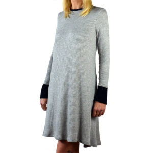 Charcoal waffle knit tent dress with black cuffs